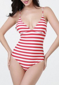 Red-White Striped Cross Back Tie Back Cleavage One Piece Swimwear