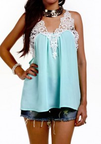 Green Patchwork Hollow-out Lace V-neck Fashion Loose Vest