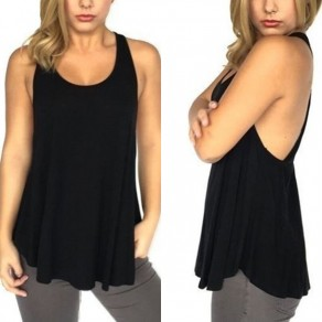Black Cut Out Draped Backless Round Neck Casual Vest