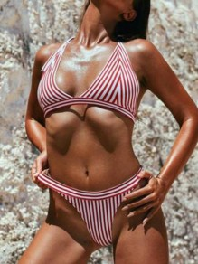 Red-White Striped Tie Back Two Piece Backless Deep V Swimwear