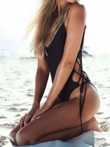 Black Cut Out Lace-up Backless Spaghetti Strap One Piece Swimsuit