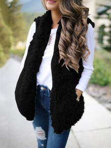 Black Fuzzy Teddy Pockets Hooded Fashion Cardigan Vest
