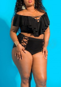 Black Ruffle Off Shoulder Lace-up Plus Size Two Piece High Waisted Beach Swimwear