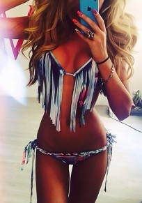 Multicolor Colorful Tassel 2-in-1 Lace-up Cross Back Halter Neck Low-rise Swimwear