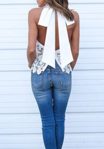 White Patchwork Lace Backless Tie Back Round Neck Elegant Vest