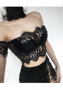 Black Floral Lace Cut Out Crop Fashion Vest