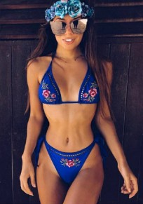 Blue Patchwork Tie Back 2-in-1 Embroidery Fashion Swimwear