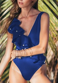 Blue Beaded Beading Ruffle Backless Deep V-neck Sweet Beach Swimwear