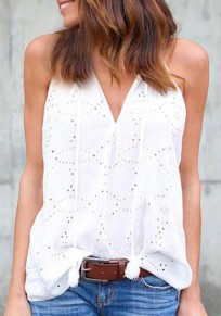 White Irregular Embroidery Tassel Round Neck Sleeveless Vest