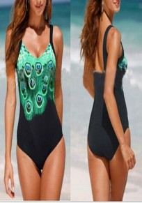 Black Floral Print Shoulder-Strap V-neck Fashion Nylon Swimwear