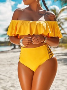 Yellow Ruffle Off Shoulder Lace-up Two Piece High Waisted Beachwear Swimwear