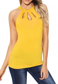 Yellow Cut Out Buttons Round Neck Fashion Vest