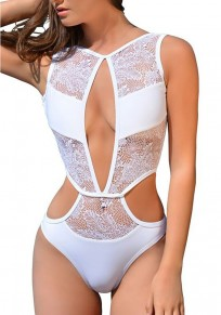 White Patchwork Cut Out Lace V-neck Swimwear