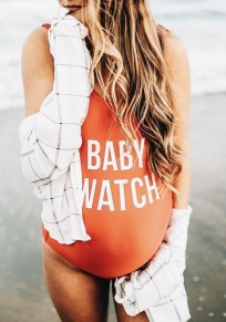 Orange Monogram Print Shoulder-Strap One Piece Backless Bodycon Maternity Beachwear Cute Swimwear