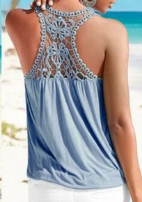 Blue Patchwork Lace Ruffle Cut Out V-neck Fashion Vest
