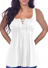 White Drawstring Draped Lace-up Shoulder-Strap U-neck Casual Vest