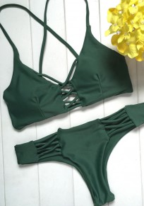 Green Cut Out Cross Back Backless V-neck Fashion Swimwear