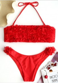 Red Plain 2-in-1 Appliques Tie Back Fashion Swimwear