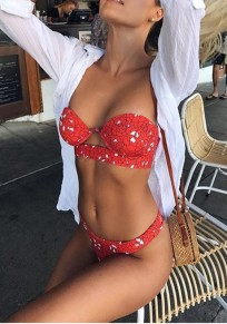 Red Floral Print Cut Out Off Shoulder Backless Two Piece Fashion Swimwear