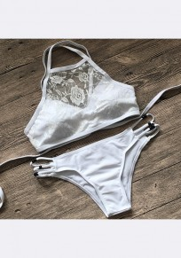 White Patchwork Lace Cut Out Tie Back Two Piece Fashion Swimwear