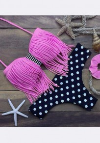 Light Pink Polka Dot Print Tassel Two Piece Off Shoulder Fashion Swimwear