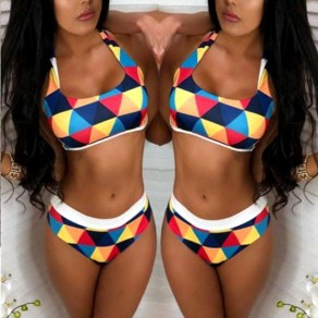 Blue And Yellow Patchwork 2-in-1 Print Round Neck Fashion Swimwear
