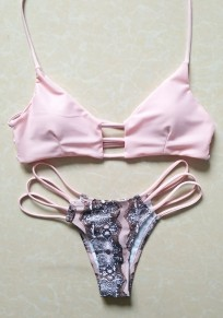 Pink Floral Print Cut Out Two Piece V-neck Sweet Swimwear