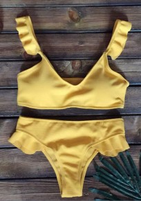 Yellow Ruffle Shoulder-Strap Two Piece V-neck Sweet Swimwear