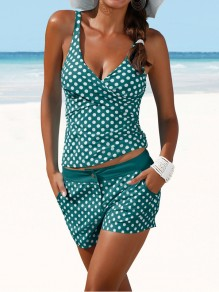 Green Polka Dot Cross 2-in-1 Pockets Swimwear