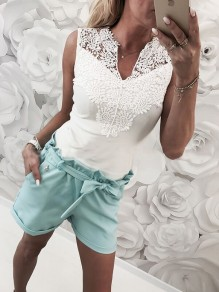 White Patchwork Cut Out Lace-up Casual Vest
