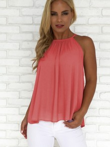 Pink Buttons Ruffle Casual Polyester Vest