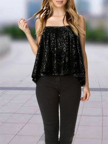 Black Patchwork Sequin Condole Belt Collarless Fashion Vest