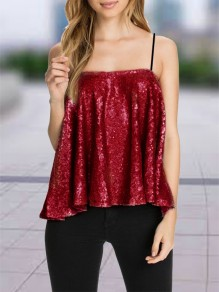 Dark Red Patchwork Sequin Condole Belt Collarless Fashion Vest
