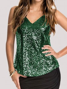 Green Patchwork Sequin Spaghetti Strap V-neck Backless Vest