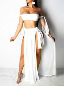 White Solid Irregular Belt Off Shoulder Cover Up Summer Beach Tankinis Swimwear