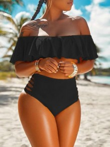 Black Ruffle Off Shoulder Lace-up Two Piece High Waisted Beachwear Swimwear