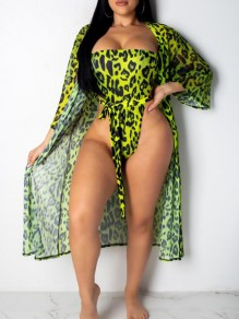 Green Leopard Pattern Bandeau Sashes Two Piece Bohemian Beachwear Swimwear