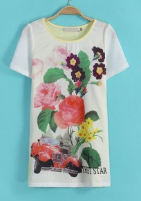 Yellow Flowers Print Short Sleeve Wrap Chiffon T-Shirt