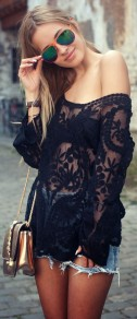 Black Patchwork Embroidery Hollow-out See Through Grenadine Fashion T-Shirt