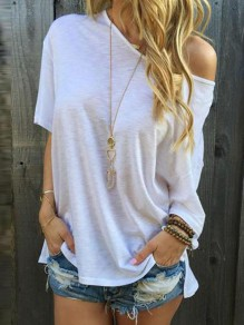 White Plain Irregular Batwing Oblique Shoulder Short Sleeve Loose Casual Fashion T-Shirt