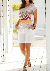 Grey Floral Round Neck Short Sleeve Casual T-Shirt
