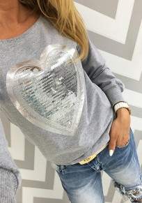 Grey Patchwork Sequin Round Neck Casual Cotton T-Shirt