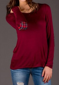 Wine Red Patchwork Pattern Long Sleeve Casual Cotton T-Shirt
