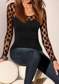 Black Patchwork Grenadine Polka Dot Round Neck T-Shirt