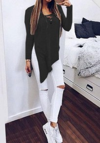 Black Plain Irregular Long Sleeve Streetwear Cotton T-Shirt