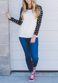 White-Black Patchwork Polka Dot Print Round Neck Long Sleeve Cute T-Shirt