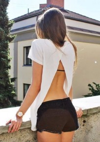 White Plain Backless Round Neck Short Sleeve Loose T-Shirt