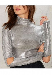 Silver Plain Cut Out Sparkly Band Collar High Neck Slim T-Shirt