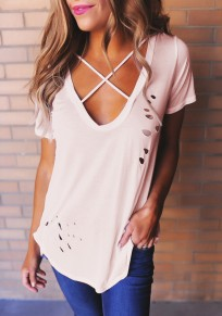 Pink Plain Cut Out Cleavage Ripped Destroyed Deep V-neck Short Sleeve T-Shirt