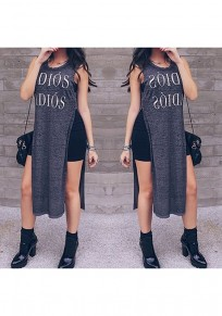 Dark Grey Monogram Side Slit Round Neck Fashion Cotton T-Shirt